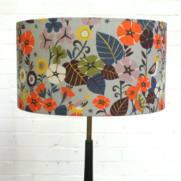 Digitally Printed Floral Lampshades In Nasturtium