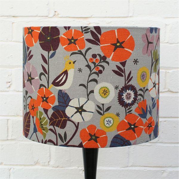 digitally printed floral lampshades in nasturtium