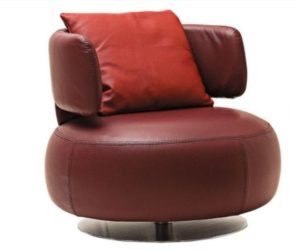 Brown Swivel Leather Armchair