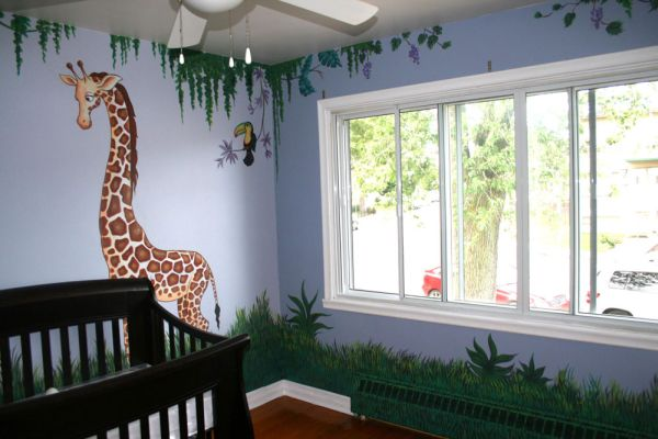 Jungle themed nurseries ideas inspiration for Baby room jungle mural