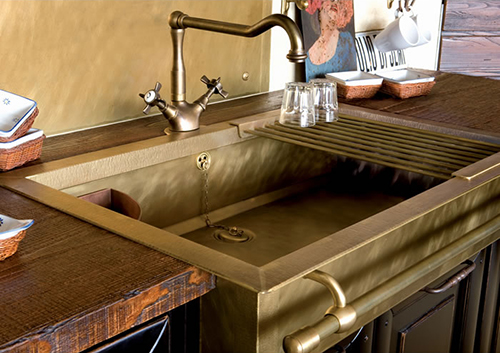 kitchen sink school stylish brass sinks with a retro look 2869