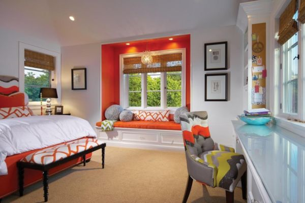 Orange and white interior design