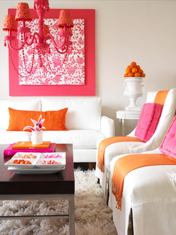 trendy color bo pink orange