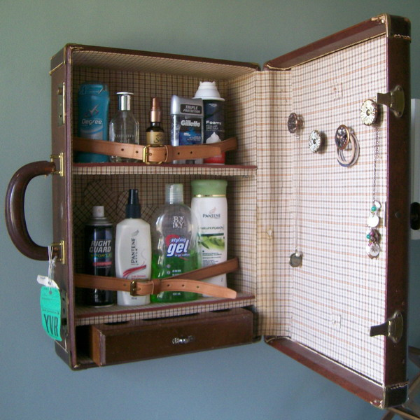 40 creative ways of re using old suitcases for Eco bathroom ideas