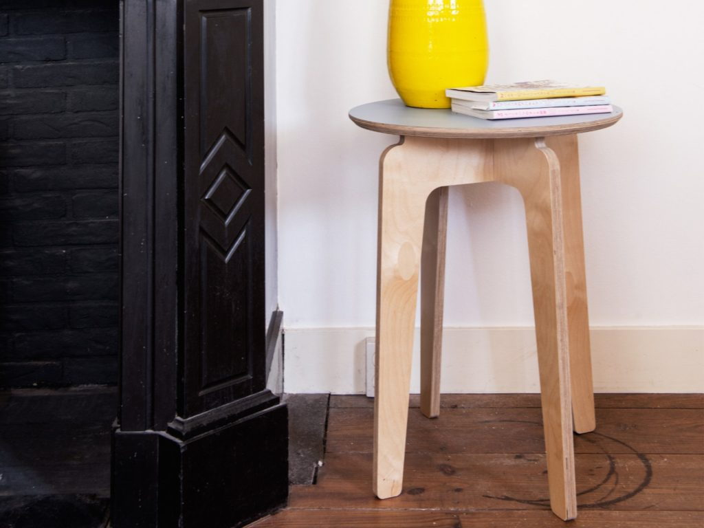 round plywood table side
