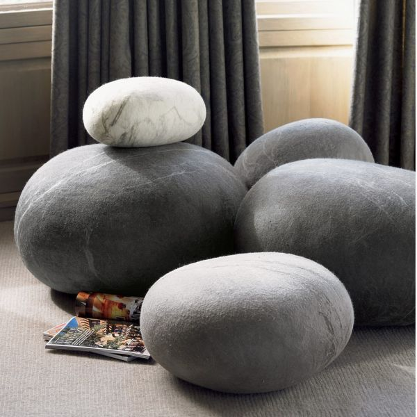 Oversized Stone Floor Cushions Made Of Wool