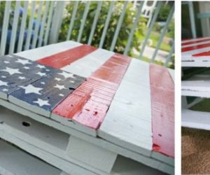 Colorful flag-colored table made from pallets