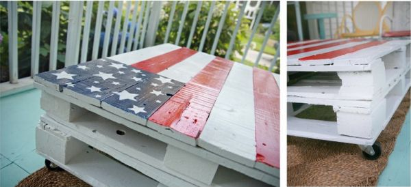 Colorful Flag Colored Table Made From Pallets