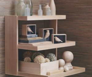 The Akari wall mount shelving display