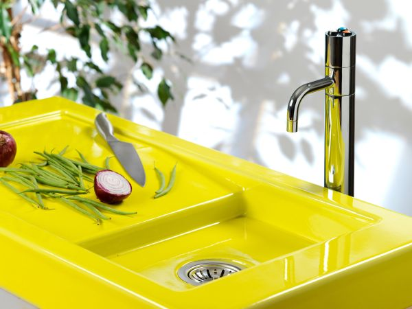 Neon Yellow Pyrolave Stone Sink
