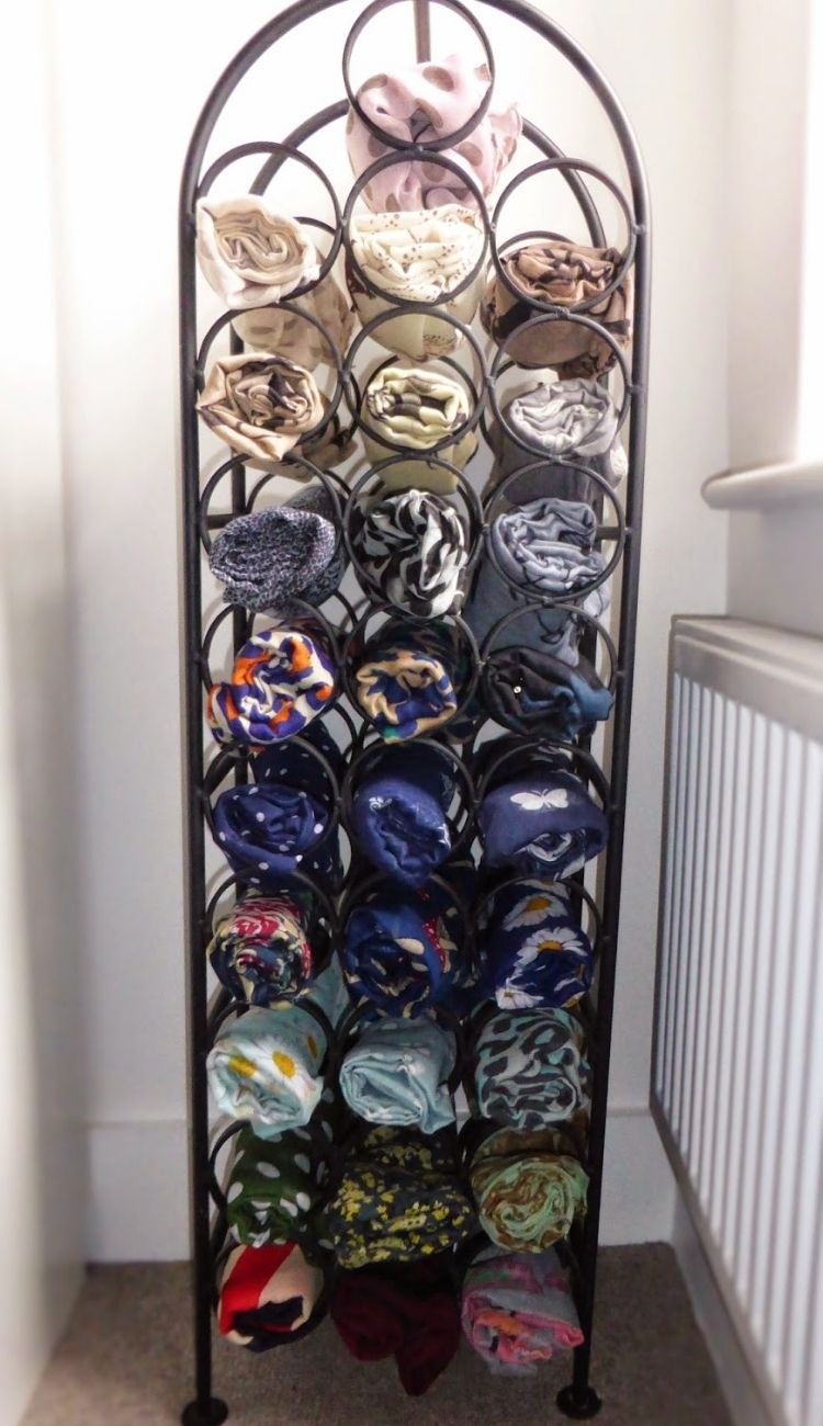 A Place For All Your Scarves In A Wine Rack