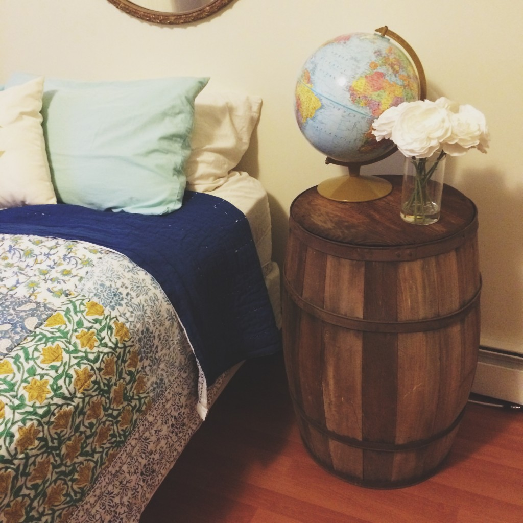 A Whiskey Barrel Side Table