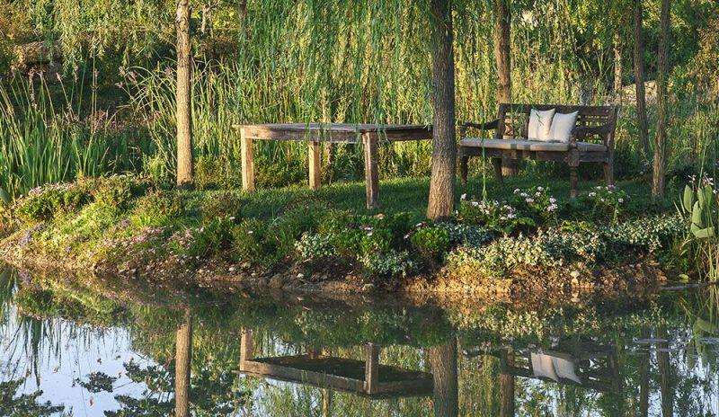 Borgo Santo Pietro hotel garden pond