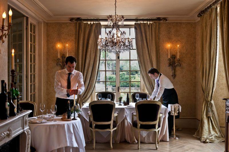 Borgo Santo Pietro hotel restaurant tables