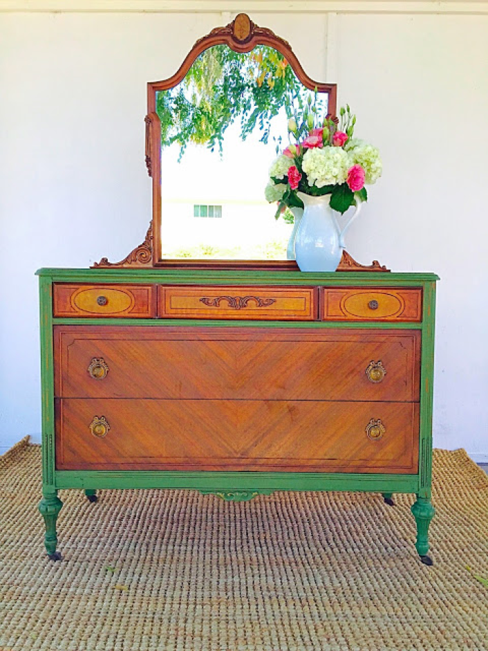 chest of drawers milk paint accent
