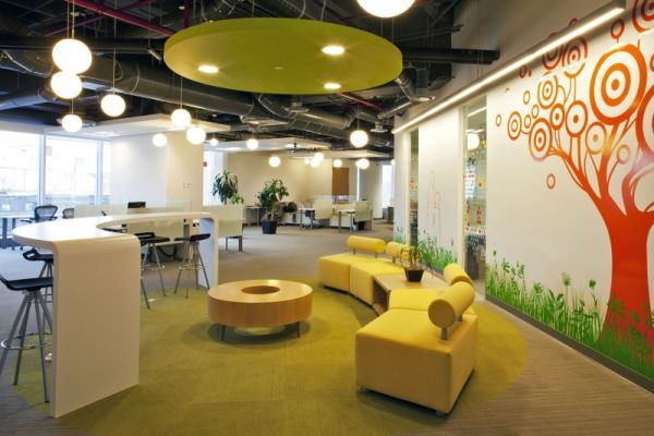 Colorful corporate office interior design by space for Interior design for office space