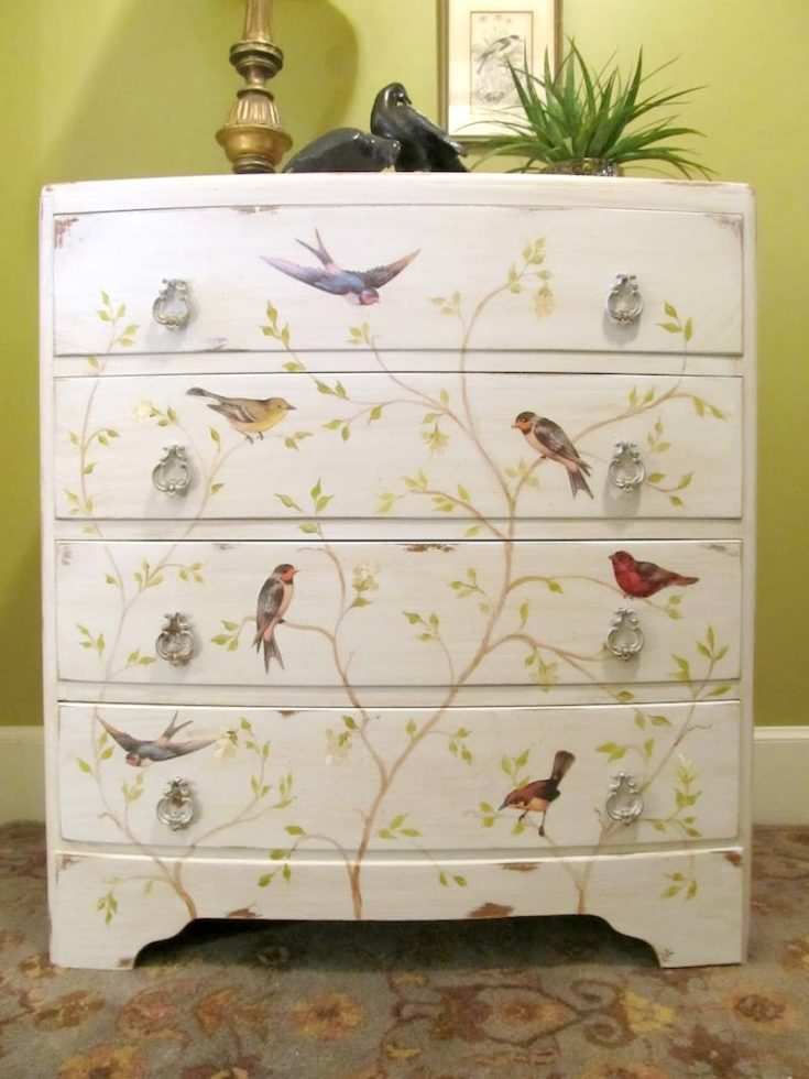 Decoupage Chest of Drawers with Vintage Birds