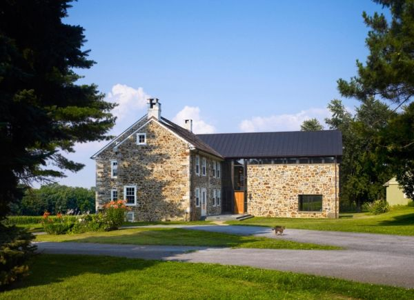 Contemporary farmhouse addition in chester county for Pennsylvania stone farmhouses
