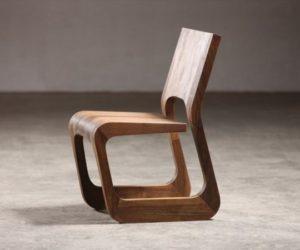 Steek Walnut Chair by Karim Rashid