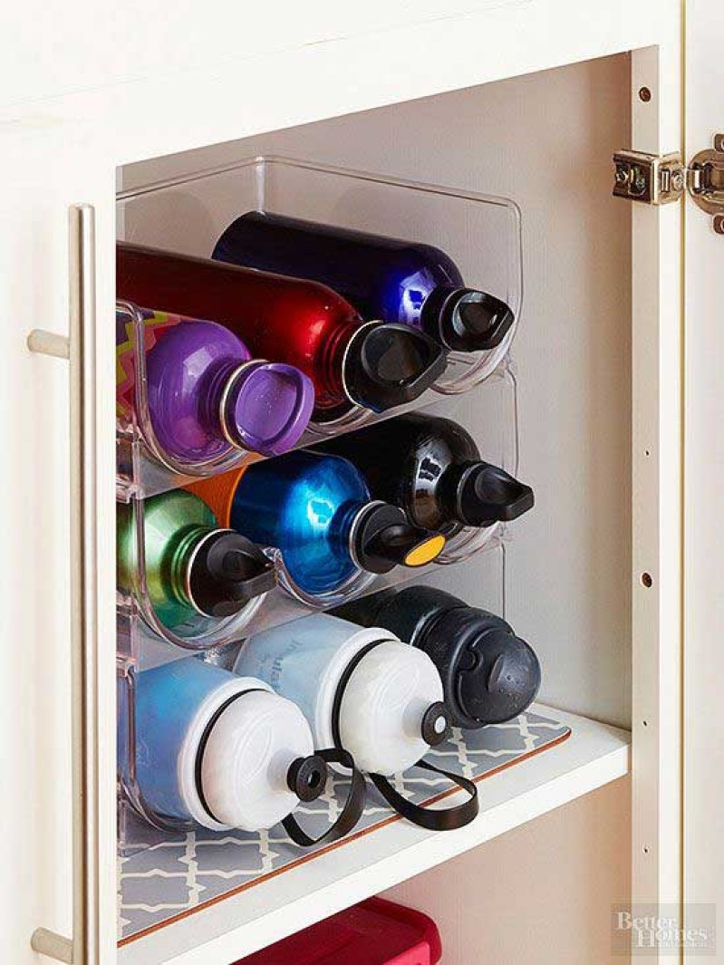 Keep Your Water Bottles Organized With A Wine Rack