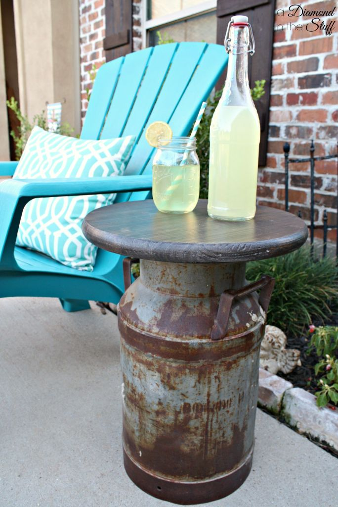 Salvaged Milk Can Side Table