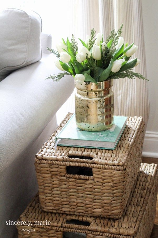 A Stack Of Baskets side table alternative