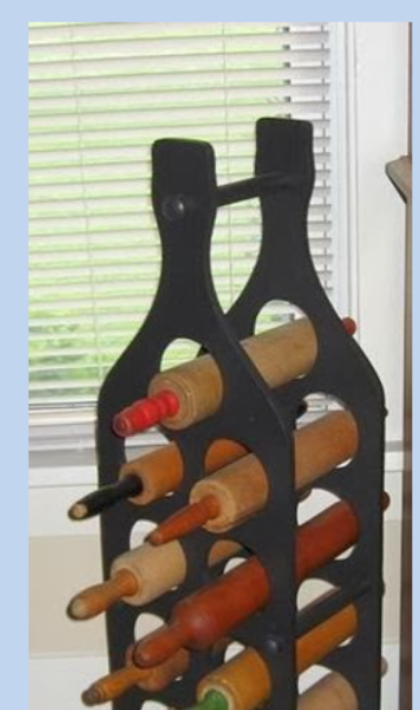 Use A Wine Rack As A Home For Your Rolling Pins