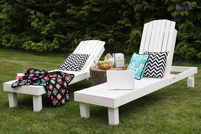 White wood lounge chairs for backyard