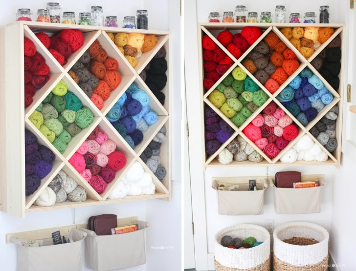 Wine Rack Yarn Storage