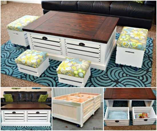 Wood coffee table from wine crates