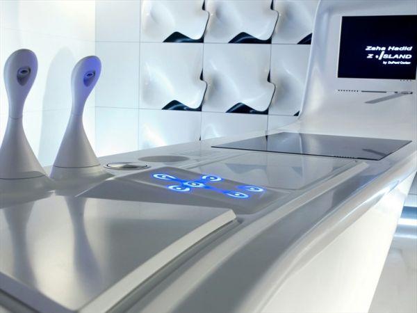 The high-tech Corian kitchen island by Zaha Hadid