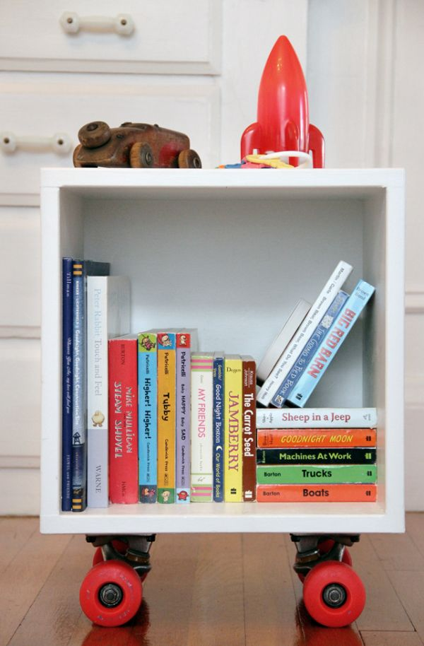DIY Book Cubby With Skateboard Wheels