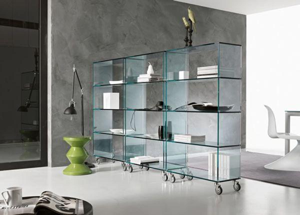elegant glass libreria bookcase tonelli rh homedit com glass and chrome bookshelves glass and chrome bookshelves