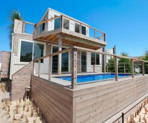 Beach house built from recycled shipping containers