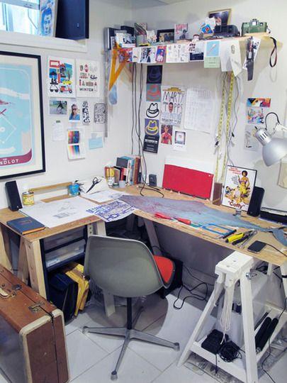 The chaotically organized home studio of Jim Mezei
