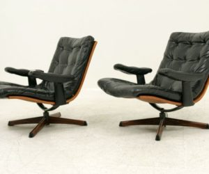 Superb ... Leather Swivel Lounge Chairs