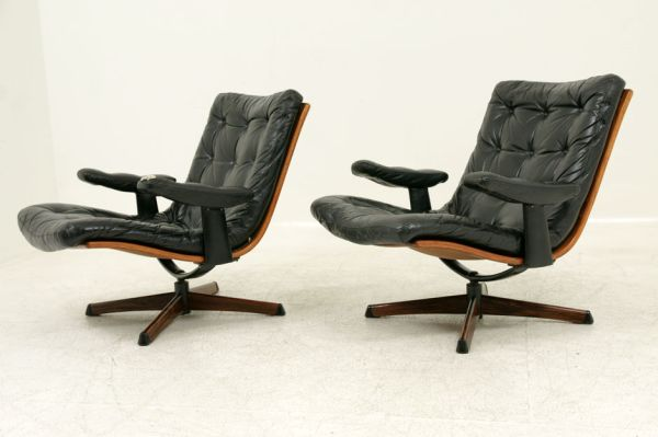 Leather Swivel Lounge Chairs