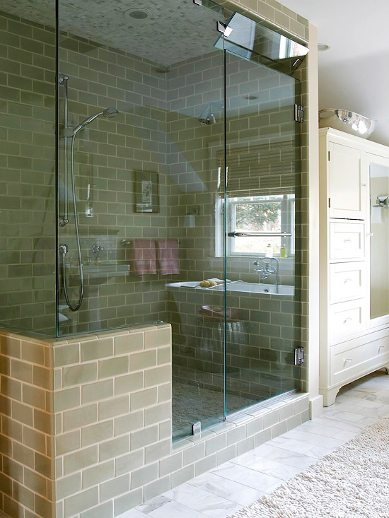 View In Gallery Modern Steam Shower With Glass Walls And A Built In Bench  Same ...