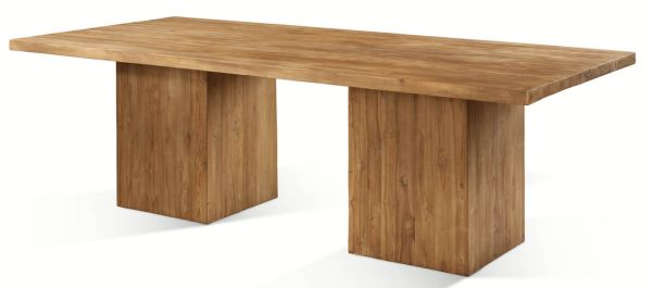 the megan dining table is made from 100 reclaimed teak the thick wooden blocks are connected to the rectangular table top using metal bolts and brackets