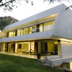 Attractive Marble Real Cream Combined With Bamboo Wood House By A Cero Amazing Ideas