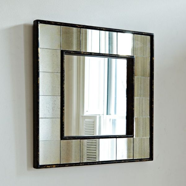 Antique tiled square wall mirror for Big square wall mirror