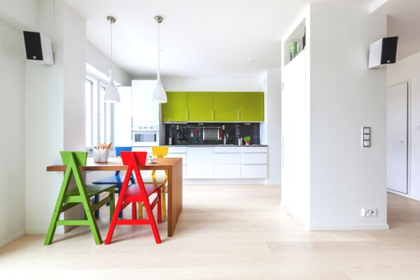 Playful apartment in finland - Mesmerizing contemporary kitchen design using the bright wall interior ...