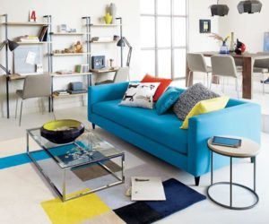 The comfortable blue movie sofa