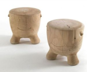 The cute Ildiko solid wood stools by Alejandro Ruiz