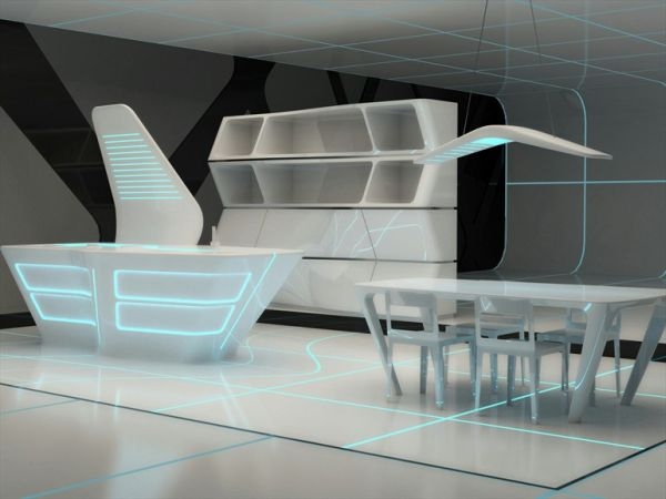 futuristic corian kitchen and dining area - Futuristic Kitchen