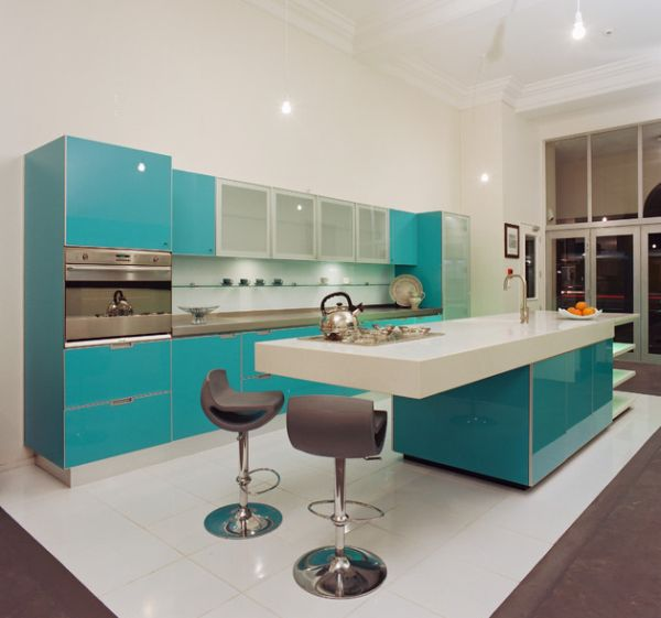 view in gallery - Turquoise Kitchen