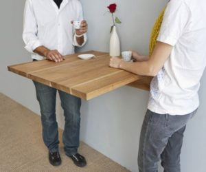Ingenious way of saving space by hanging the dining table on the wall