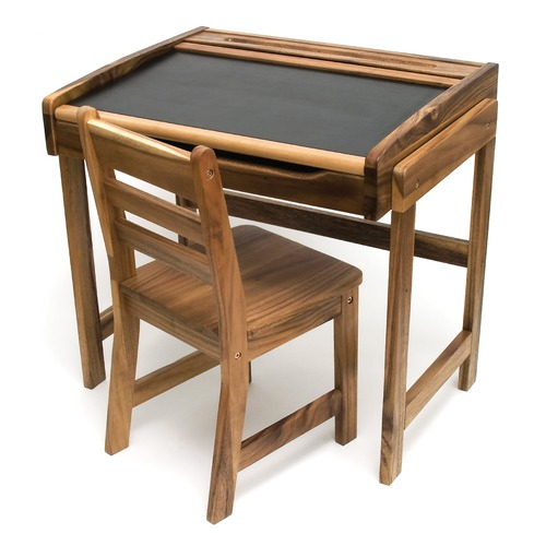 Art desk with chalkboard top and chair for Best desk chair for kids