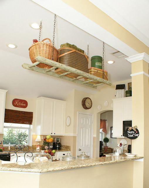 Another ladder storage kitchen
