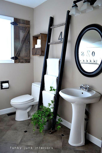 Bathroom ladder storage for towels